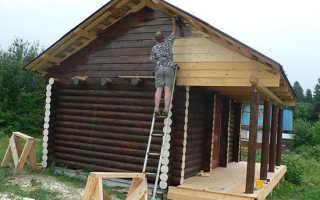 Покраска фронтона деревянного дома
